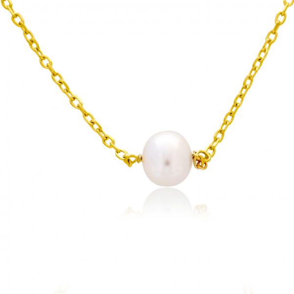 Yellow Gold Plated Sterling Silver Pearl Necklace by Waterlily