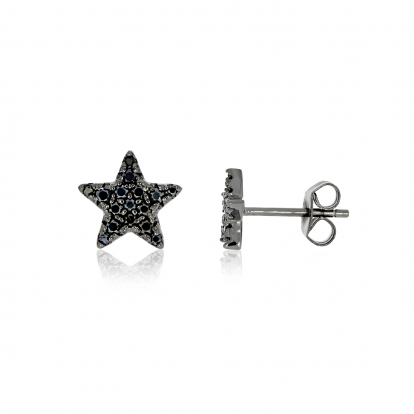Sterling Silver with Black Rhodium Finish Earrings by Rock Chick