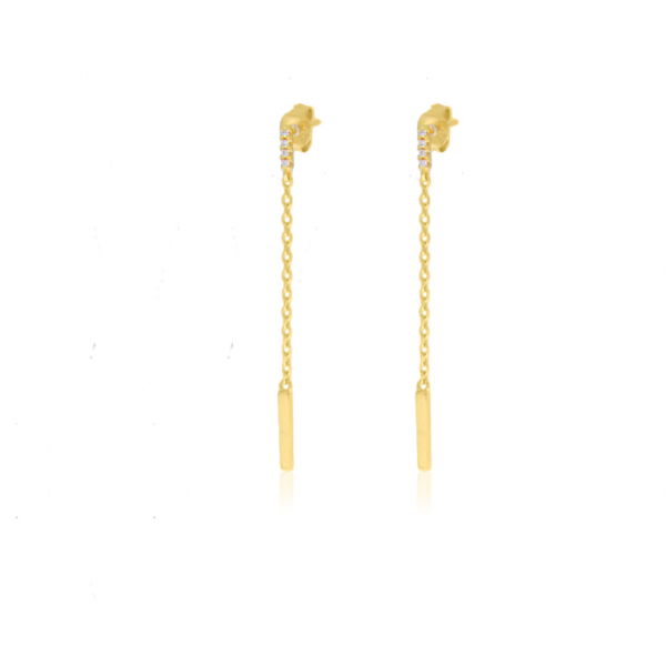 Yellow Gold Plated Sterling Silver Earrings by Rock Chick