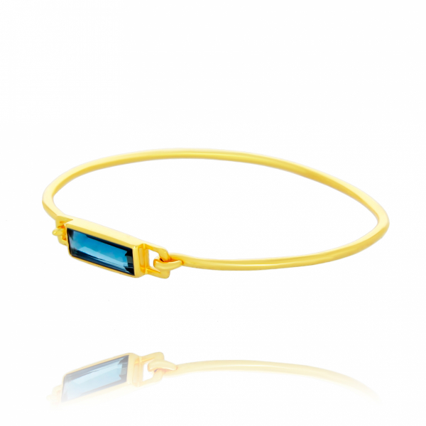 Waterlily Gold Plated Hydrothermal Iolite Bangle by Waterlily